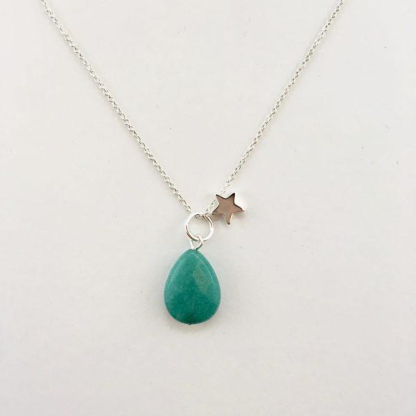 Korte ketting zilver ster groene jade druppel