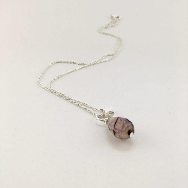 Korte ketting zilver ster natuursteen druppel roze grijs