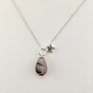 Korte ketting zilver ster natuursteen druppel