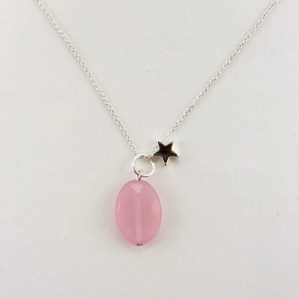 Korte ketting zilver ster roze jade ovaal