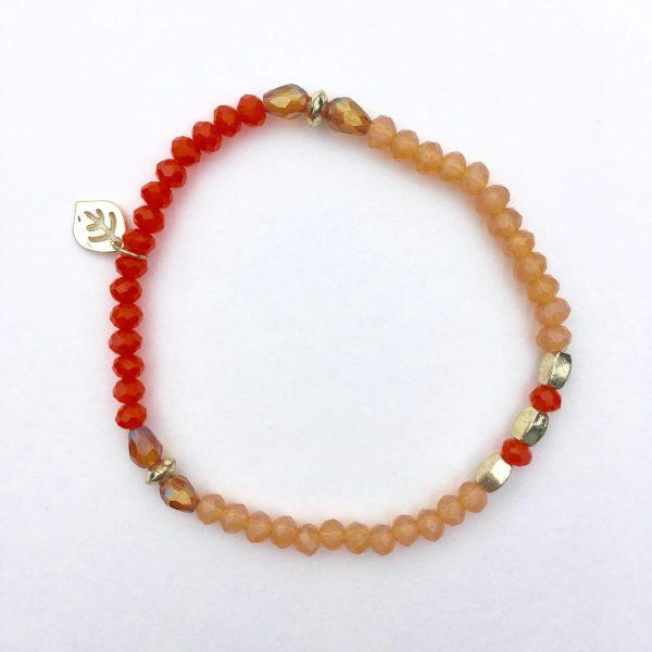 Kralen armband leaf oranje