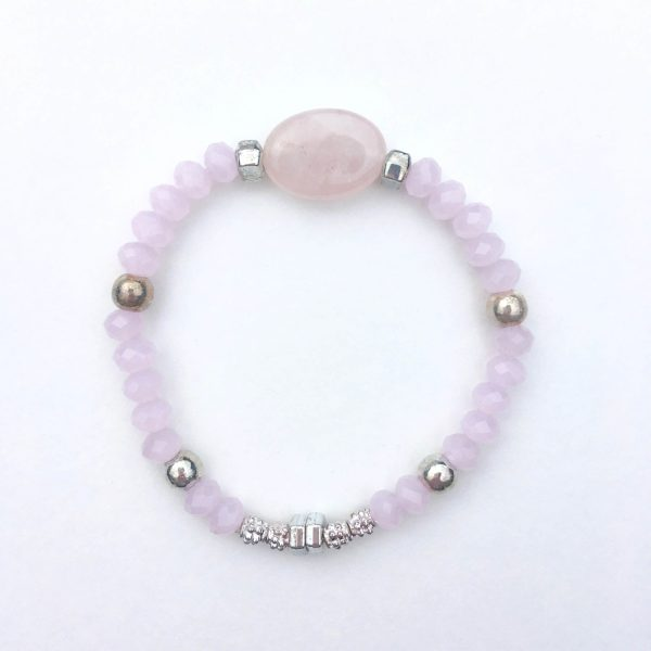 Kralen armband steen roze