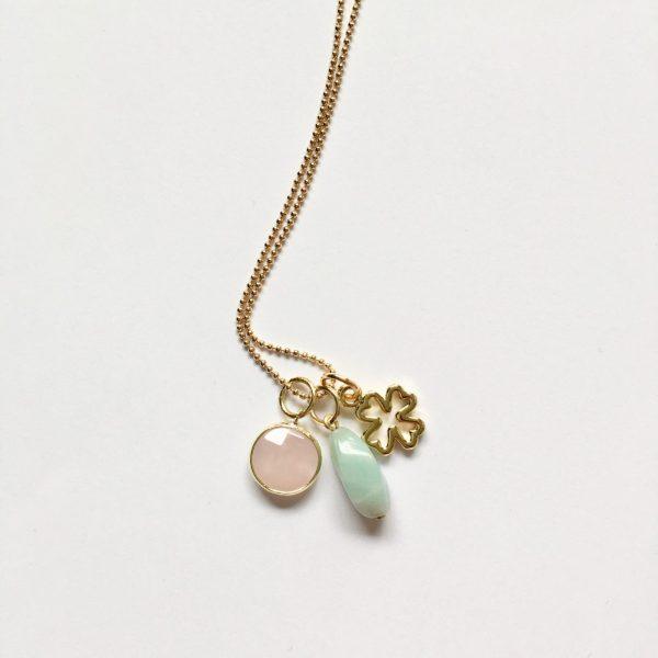 Lange ketting met edelsteen amazoniet rozenkwarts klavertje vier goud