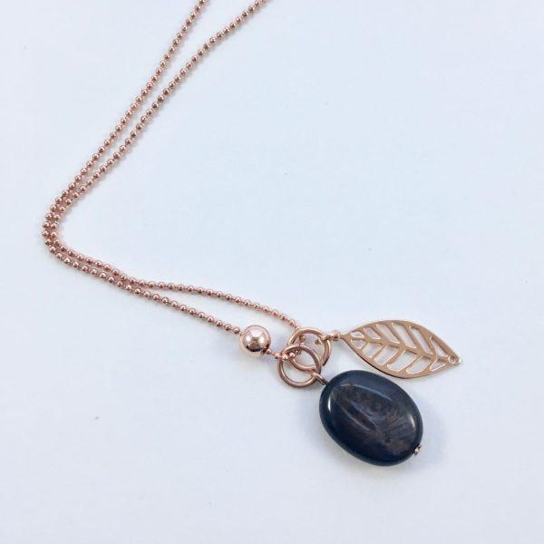 Lange ketting met edelsteen onyx blad rose goud
