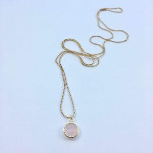 Lange ketting met edelsteen rozenkwarts goud