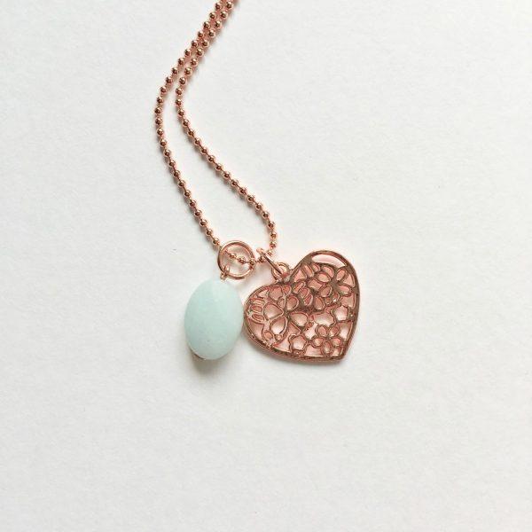 Lange ketting met lichtgroene jade hart rosé goud