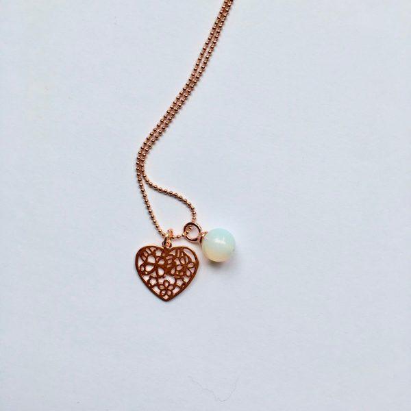 Lange ketting met maansteen hart hanger rosé goud