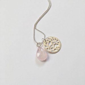 Lange ketting rozenkwarts munt zilver
