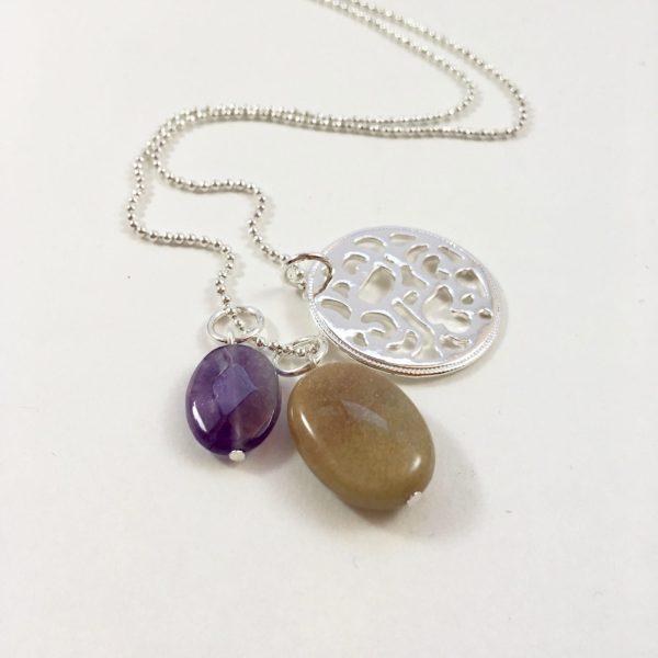 Lange ketting zilver 3 bedels munt paarse jade natuursteen