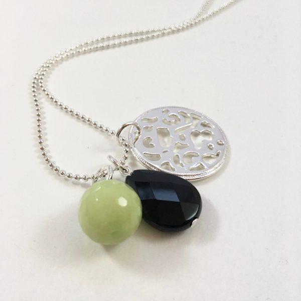 Lange ketting zilver munt groene jade onyx