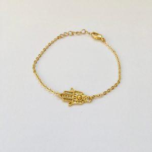 Metalen armband hand van Fatima hamsa (goud)