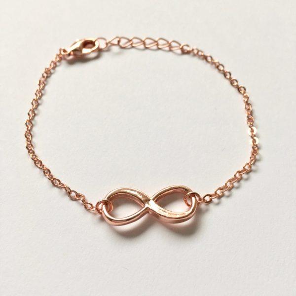 Metalen armband infinity rose goudkleurig
