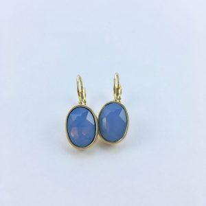 Oorbellen met Swarovski blauw, goud