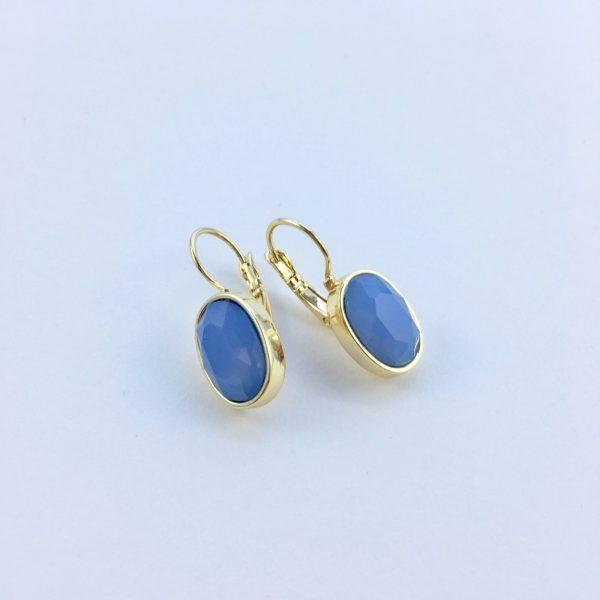 Oorbellen met Swarovski blauw, goudkleurig
