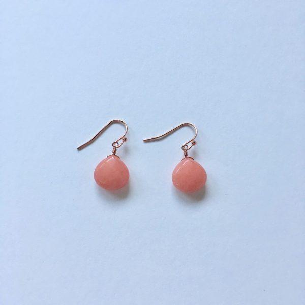 Oorbellen met edelstenen rosé goud, koraalrood
