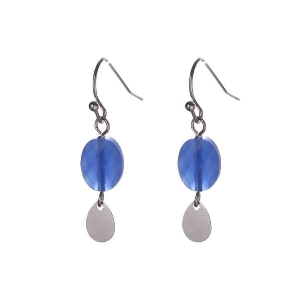Oorbellen met ovalen bedels zilver kobaltblauw