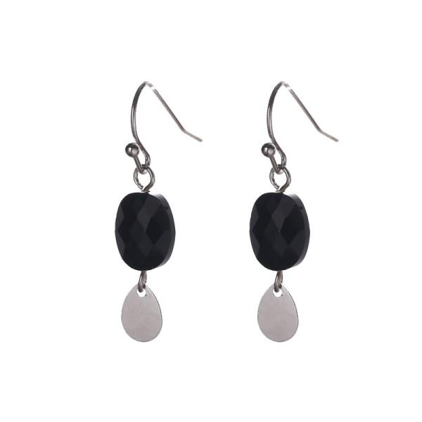Oorbellen met ovalen bedels zilver zwart