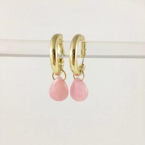 Oorringen met druppel roze jade (goud)