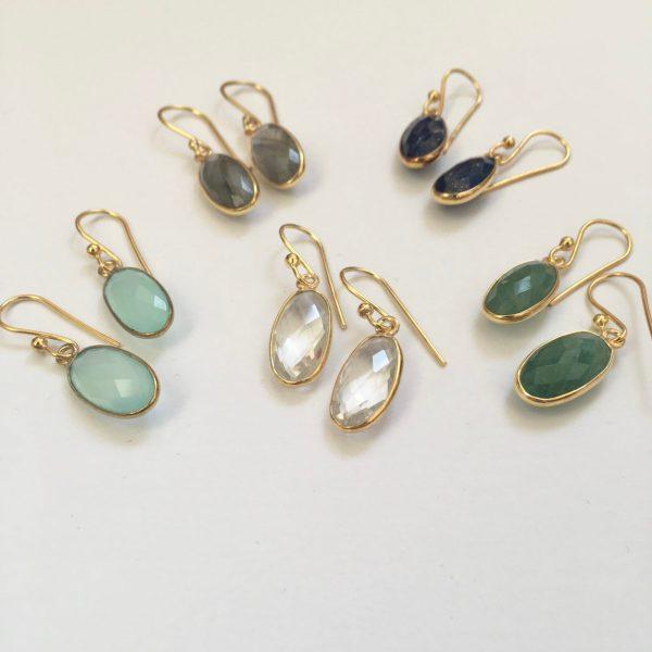 Ovalen edelsteen oorhangers labradoriet lapis lazuli crystal aventurine chalcedoon 925 zilver verguld