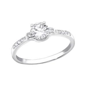 Shiny zilveren ring met zirkonia maat 7 (M,17)