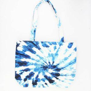 Shopper blauw wit patroon
