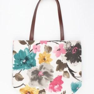 Shopper bloemen met bruine handriem