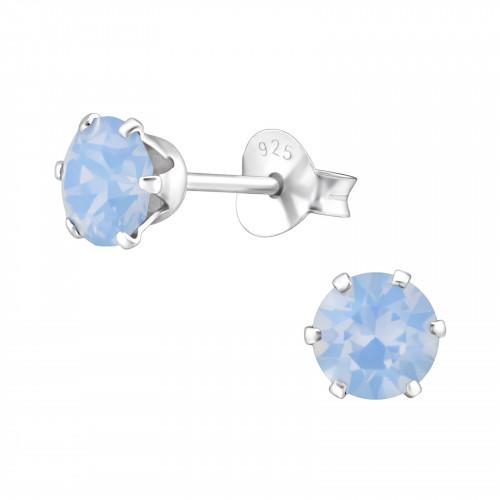 Zilveren Swarovski oorknoppen blauw