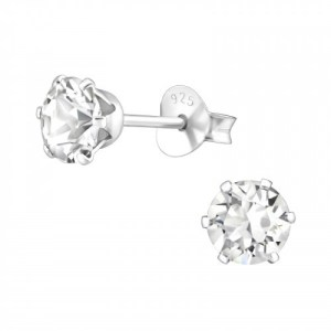 Zilveren Swarovski oorknoppen crystal