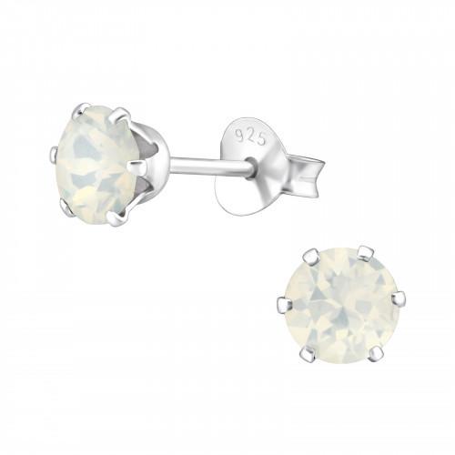 Zilveren Swarovski oorknoppen wit