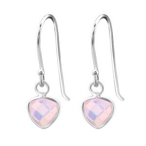 Zilveren driehoek oorbellen met pink opal