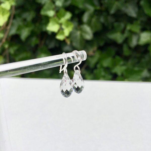 Zilveren oorbellen met Swarovski druppel