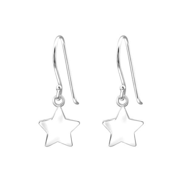 Zilveren oorhangers met ster