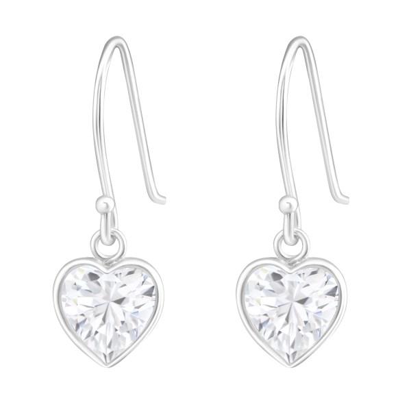 Zilveren oorhangers met zirkonia hart