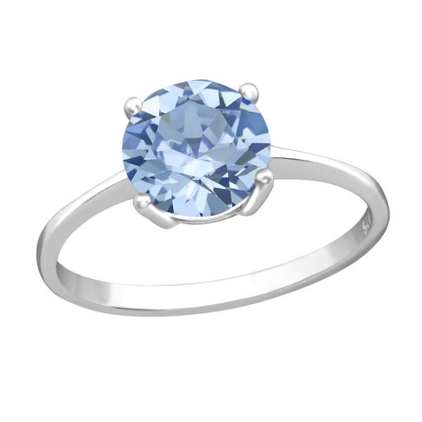Zilveren ring met Swarovski kristal blauw maat 7