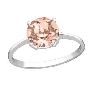Zilveren ring met Swarovski kristal donker champagne