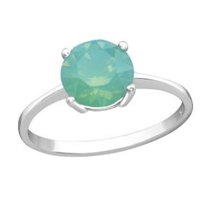 Zilveren ring met Swarovski kristal turquoise maat 7 (M,17)