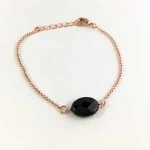 armband met onyx roze goud