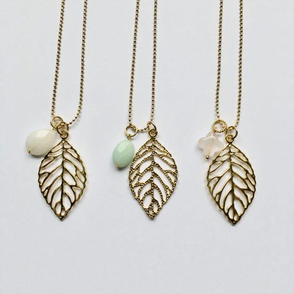 edelsteen kettingen lange ketting met blad veer goudkleurig