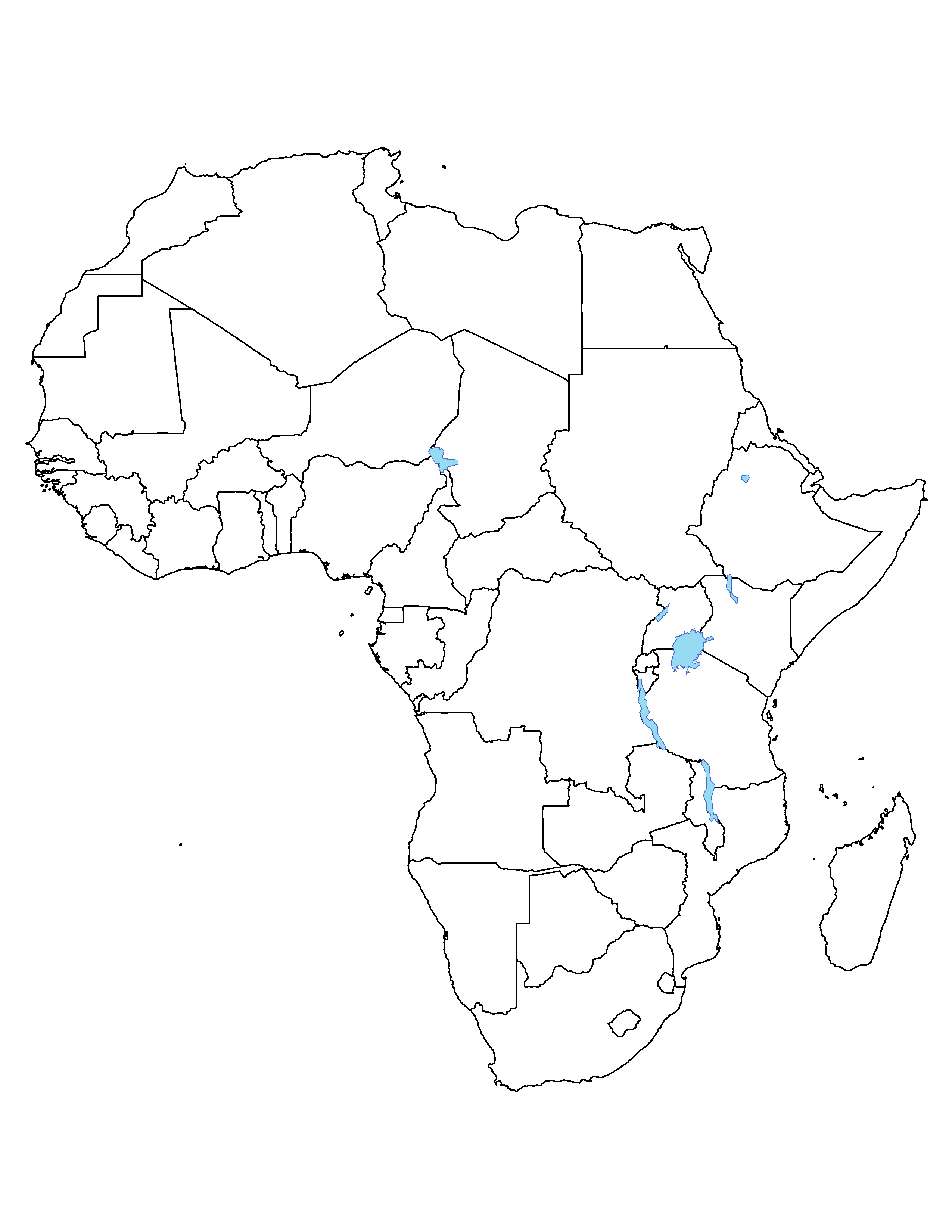 Africa Political Outline Map