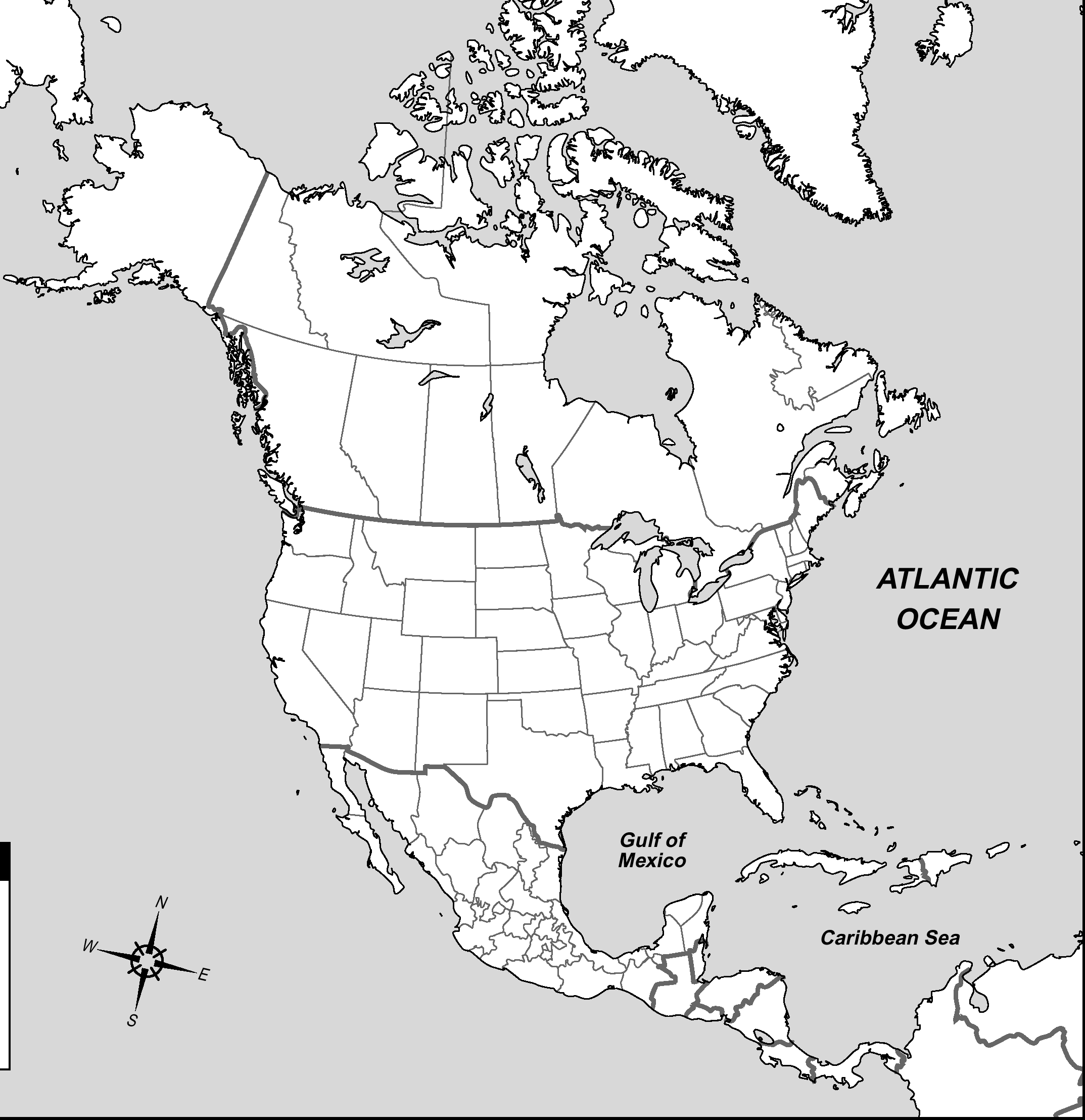 North America Political Outline Map