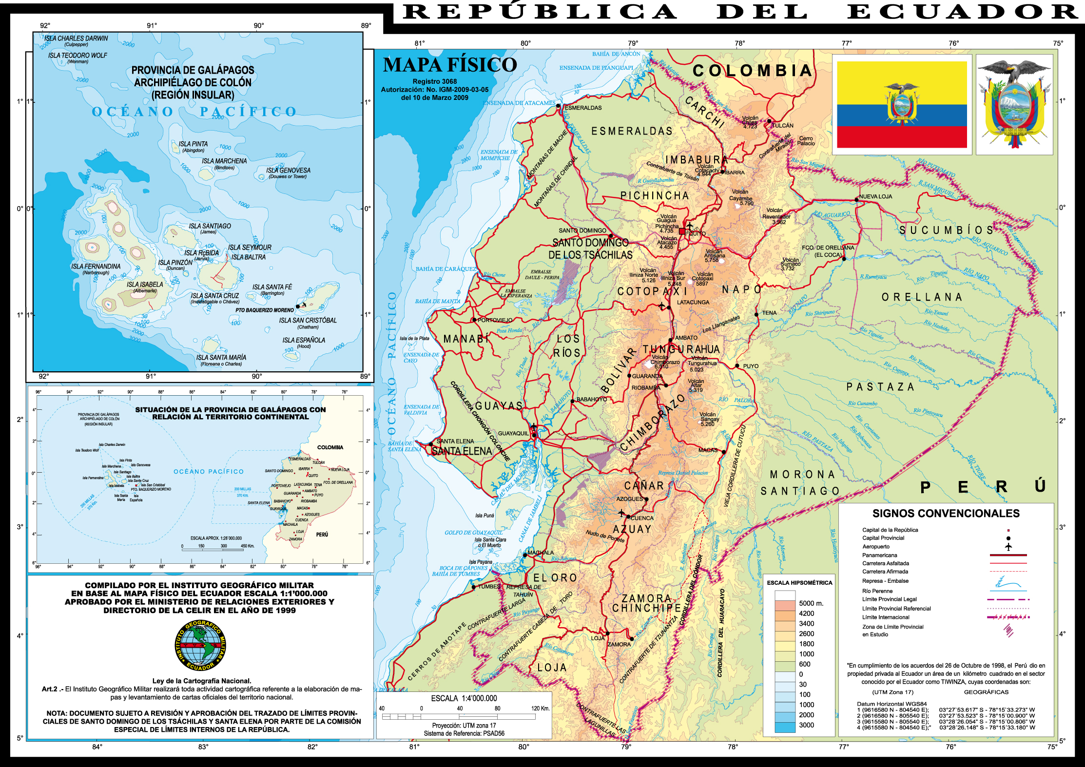 ... Physical Map Of Ecuador 1999 ...