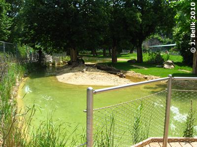 Blick auf den Teich der Südamerika-Anlage vond er Besucherplattform aus, 8. Juni 2010