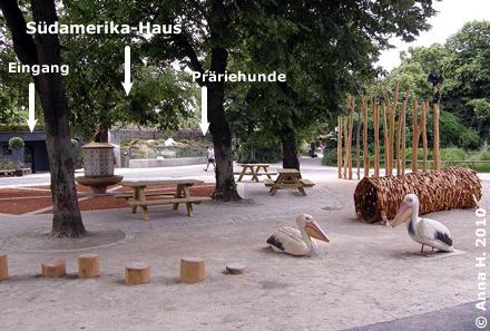 Blick auf den Vogelbrunnenplatz, im Hintergrund das Südamerika_haus mit dem Eingang und dem Bereich der Präriehunde, 10. Juni 2010