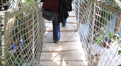 ... sie IST es auch! Eine der beiden Hängebrücken in der Grünen Pyramide, Sóstó Zoo, 6. Juni 2012