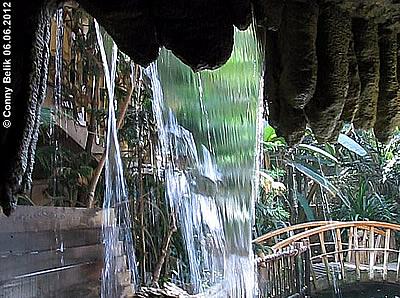 Wasserfall beim Eingang zum Regenwaldhaus, Grüne Pyramide, Sóstó Zoo, 6. Juni 2012