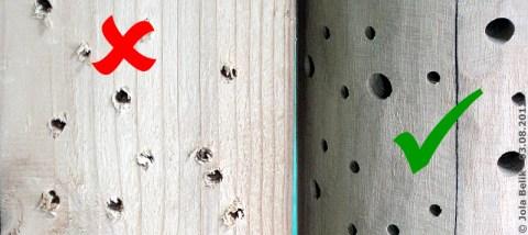 ... vor dem Aufhängen das Längsholz shcleifen, damit die Flügel der Bienen nicht verletzt werden! Weichholz (li) und Hartholz (re), 3. August 2012
