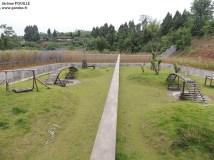 Außenanlage der Pandas: links Bereich Fu Long, rechts Bereich Hao Hao