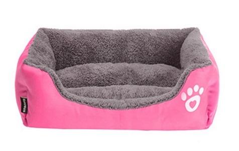 Morbida Cuccia rettangolo cani e gatti. Rosa Small - 40x33x10