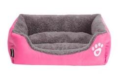 Morbida Cuccia rettangolo cani e gatti. Rosa Large- 50x44x13