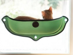 Cuccia amaca letto da finestra per gatti. Colore verde.